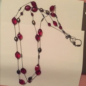 Red Double Layer Beaded Necklace